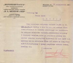 N.L. Szustow, Warszawa 12.10.1931